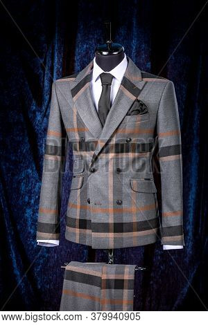 Stylish Mens Gray Check Suit On A Mannequin Or Dummy. Mens Clothing. Clothing Store. Shopping In Bou