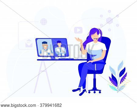 Online Virtual Video Meeting. A Woman Chatting With Friends In A Group Through A Monitor. Vector Ill