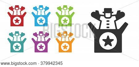 Black Jack In The Box Toy Icon Isolated On White Background. Jester Out Of The Box. Set Icons Colorf