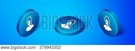 Isometric Ancient Bust Sculpture Icon Isolated On Blue Background. Blue Circle Button. Vector