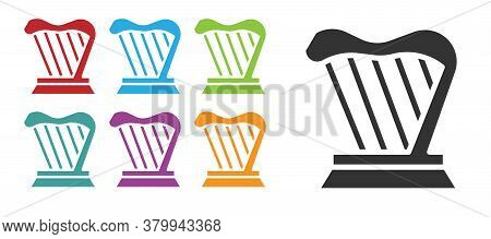 Black Harp Icon Isolated On White Background. Classical Music Instrument, Orhestra String Acoustic E