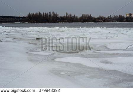 Winter Landscape On A  River Dnieper In City Kremenchug, Ukraine