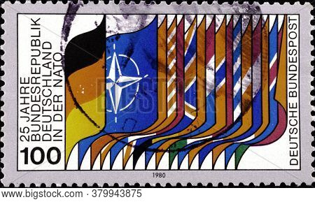 02 09 2020 Divnoe Stavropol Territory Russia The Postage Stamp Germany 1980 The 25th Anniversary Of