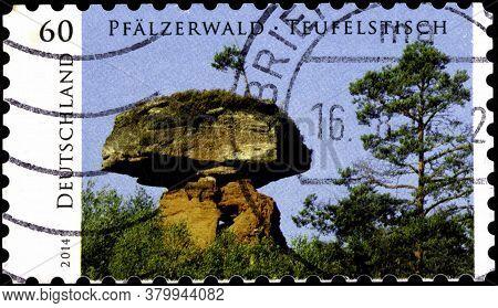 02 09 2020 Divnoe Stavropol Territory Russia The Postage Stamp Germany 2014 Wild Germany Devils Tabl
