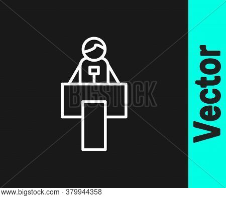 White Line Stage Stand Or Debate Podium Rostrum Icon Isolated On Black Background. Conference Speech