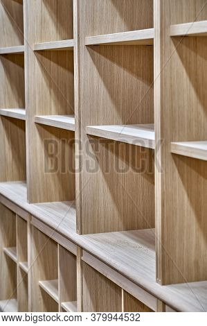 Modern Joinery. Wooden Bookcases In Process Of Production In Workshop. Furniture Manufacture