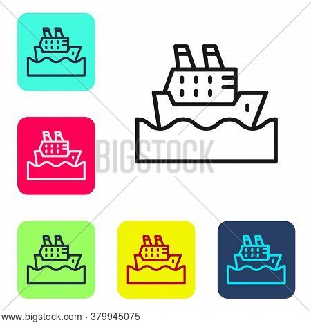 Black Line Cruise Ship In Ocean Icon Isolated On White Background. Cruising The World. Set Icons In