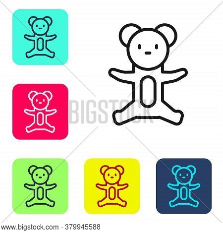 Black Line Teddy Bear Plush Toy Icon Isolated On White Background. Set Icons In Color Square Buttons