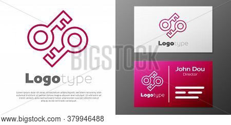 Logotype Line Cryptocurrency Key Icon Isolated On White Background. Concept Of Cyber Security Or Pri
