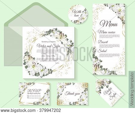 Template For A Wedding. White Lilies. Gold Sparkles, Geometric Shapes. Save The Date. Menu. Thank Yo