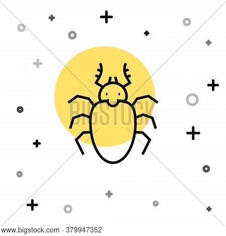 Black Line Beetle Deer Icon Isolated On White Background. Horned Beetle. Big Insect. Random Dynamic