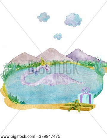 Aquatic Dinosaur In Pond Children Watercolor Illustration For Holiday Design.  Swimming Dinosaur In