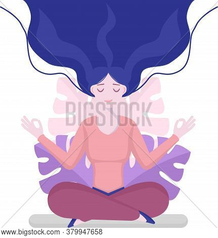 Girl Sits In The Lotus Position, Isolated, The Inception And The Search For Ideas. Mindfulness, Medi