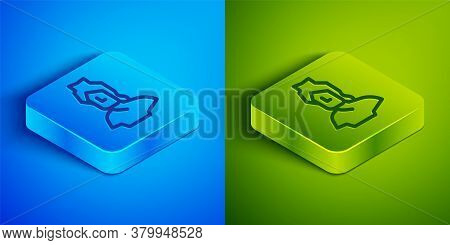 Isometric Line Ancient Bust Sculpture Icon Isolated On Blue And Green Background. Square Button. Vec