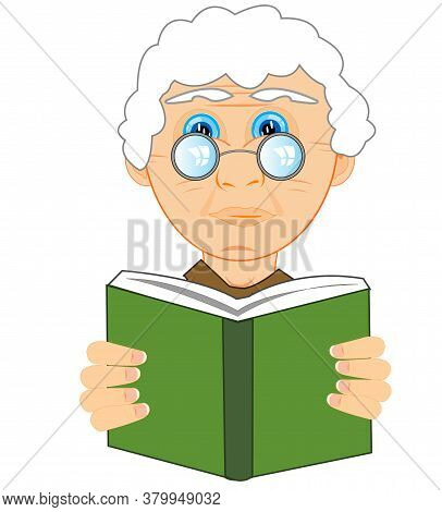 Grandmother Bespectacled Reads Book On White Background Is Insulated
