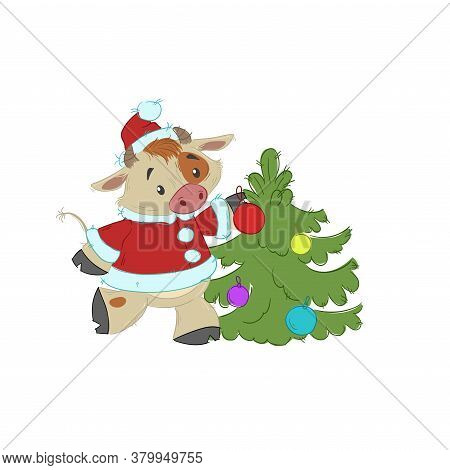 Cute Bull, Ox Or Bison Decorating The Christmas Tree. 2021 Chinese Year Of Bull Symbol. Cartoon Hand