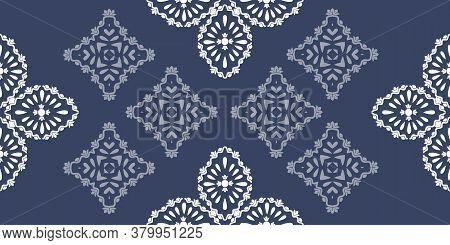 White Ornament On Blue Seamless Pattern. Vintage, Paisley Elements. Ornamental Traditional, Ethnic,