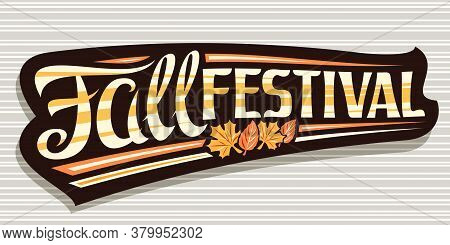 Vector Lettering Fall Festival, Black Signage With Curly Calligraphic Font And Illustration Of Decor