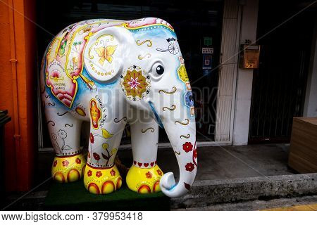 Singapore, 21/01/19. Colorful Decorative Statue Of An Elephant Painted With Singapore Map And Orient