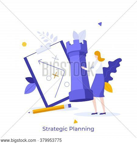 Woman Holding Rook Chess Piece, Scheme Drawn On Tablet And Pencil. Concept Of Strategic Planning, Bu