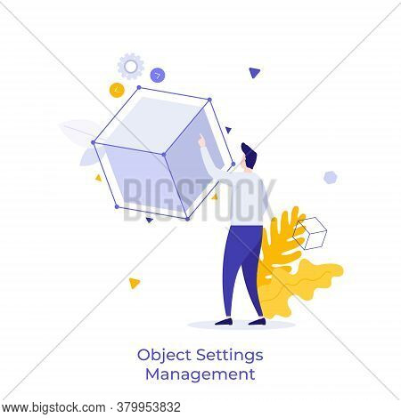Man Touching Cube Or Cubic Model. Concept Of Object Settings Management, Customization, Selection Of