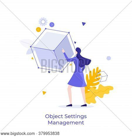 Woman Touching Cube Or Cubic Model. Concept Of Object Settings Management, Customization, Selection