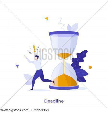 Man Running In Panic And Hourglass. Concept Of Project Deadline, Effective Project Time Planning And