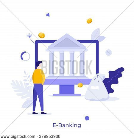 Man Standing In Front Of Computer With Bank Building On Screen. Concept Of E-banking, Online, Intern