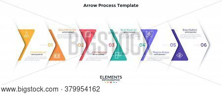Process Chart With 6 Overlaying Paper White Arrows Placed In Horizontal Row. Concept Of Six Steps Of