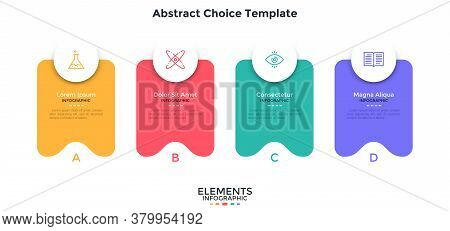 Four Separate Colorful Abstract Rectangular Elements Placed In Horizontal Row. Concept Of 4 Service