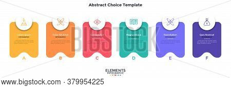 Six Separate Colorful Abstract Rectangular Elements Placed In Horizontal Row. Concept Of 6 Service F