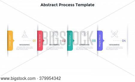 Process Chart With 4 Overlaying Rectangular Paper White Elements And Arrow-like Elements. Concept Of