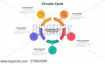 Ring-like Chart With 5 Colorful Bubble Protuberances. Concept Of Five Stages Of Cyclic Process. Flat