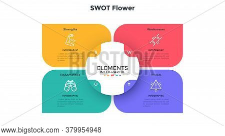 Swot Flower Chart With 4 Colorful Petals. Concept Of Strengths, Weaknesses, Threats And Opportunitie