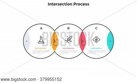 Process Chart With 3 Intersected Circular Elements. Concept Of Three Steps Of Investment Project Dev