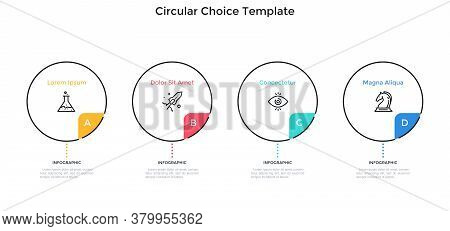 Four Round Elements Placed In Horizontal Row. Concept Of 4 Features Of Startup Project To Choose. Si