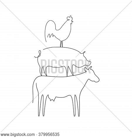 Farm Animals Line Set Vector Illustration. Cow, Pig And Cock Isolated On White. Domestic Animals Col