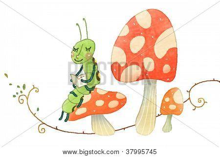 larva on a Mushroom