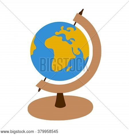 Globe On A Stand. View Of Africa. School Inventory For Geography. Symbol Of Travel. A Simple Drawing