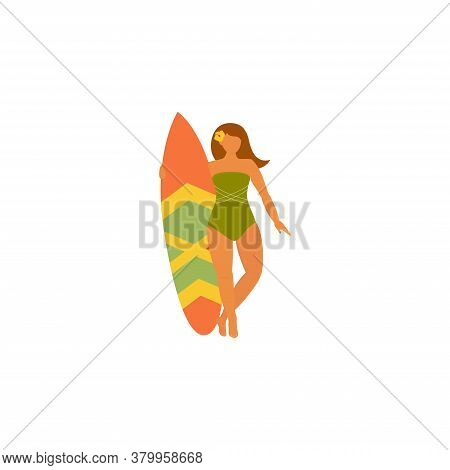 Girl Surfer In Swimsuit With A Surf Board Surfing In Sea, Ocean. Concept Of Summer Sports And Leisur