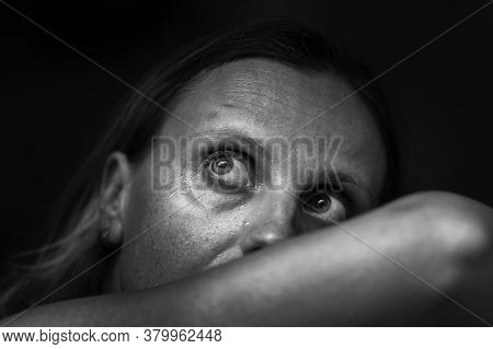 Black And White Image Of Woman Depression Or Domestic Violence. People, Grief And Domestic Violence