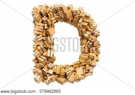 Letter D From Cardboard Boxes. 3d Rendering Isolated On White Background