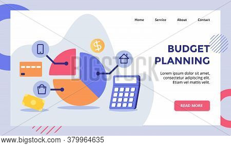 Budget Planning Piece Pie Chart To Shopping Smartphone Home Campaign For Web Website Home Homepage L