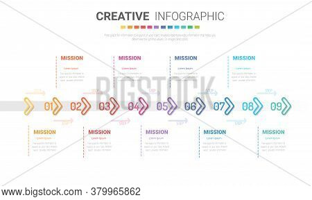 Infographic Design Template With 9 Options, Can Be Used For Process Diagram, Presentations, Workflow
