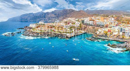 Aerial Landscape With Puerto De Santiago City,  Atlantic Ocean Coast, Tenerife, Canary Island, Spain