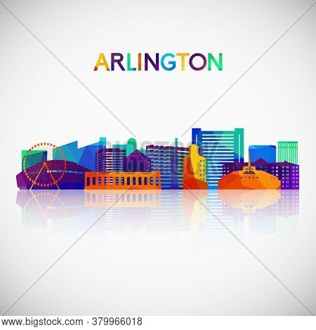 Arlington, Texas Skyline Silhouette In Colorful Geometric Style. Symbol For Your Design. Vector Illu