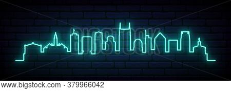 Blue Neon Skyline Of Nashville. Bright Nashville City Long Banner. Vector Illustration.