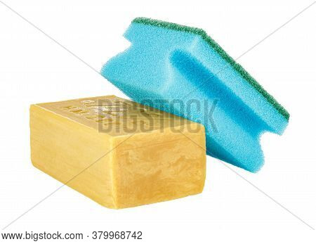 Lying Yellow Household Soap With Blue Sponge For Washing Dishes On Top Isolated On White Background