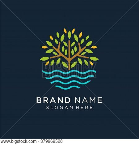Tree Lake Logo Icon, River Tree Logo Circle Shape Design Vector Template