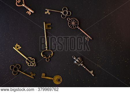 Many Different Old Keys From Different Locks. Finding The Right Key, Encryption, Concept. Retro Vint